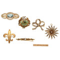 Estate Jewelry:Brooches - Pins, Victorian Multi-Stone, Seed Pearl, Gold Brooches. ... (Total: 7Items)