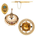 Estate Jewelry:Brooches - Pins, Victorian Citrine, Mother-of-Pearl, Half-Pearl, Gold, Yellow MetalBrooches. ... (Total: 4 Items)