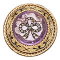 Estate Jewelry:Brooches - Pins, Victorian Diamond, Amethyst, Enamel, Gold Mourning Brooch. . ...