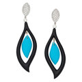 Estate Jewelry:Earrings, Diamond, Turquoise, Black Onyx, White Gold Earrings. . ... (Total:2 Items)