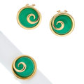 Estate Jewelry:Suites, Chrysoprase, Gold Jewelry Suite. ... (Total: 3 Items)