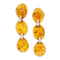 Estate Jewelry:Earrings, Amber, Diamond, Gold Earrings, Eli Frei. . ... (Total: 2 Items)