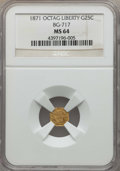 California Fractional Gold , 1871 25C Liberty Octagonal 25 Cents, BG-717, R.3, MS64 NGC. NGCCensus: (16/23). PCGS Population: (65/78). ...