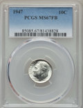 Roosevelt Dimes, 1947 10C MS67 Full Bands PCGS. PCGS Population: (50/0). NGC Census: (40/1). Mintage 121,520,000. ...