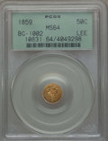 California Fractional Gold , 1859 50C Liberty Round 50 Cents, BG-1002, High R.4, MS64 PCGS. Ex:Lee. PCGS Population: (12/12). NGC Census: (3/10). ...