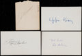 Baseball Collectibles:Others, Baseball Greats Signed Cut Signatures and Index Cards Lot of 4....