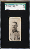 Baseball Cards:Singles (Pre-1930), 1903 E107 Breisch Williams Jimmy Ryan (Ad Back) SGC 20 Fair 1.5....