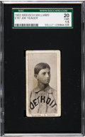 Baseball Cards:Singles (Pre-1930), 1903 E107 Breisch Williams Joe Yeager (Ad Back) SGC 20 Fair 1.5 -Only Three Graded by SGC. ...