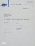 Basketball Collectibles:Others, 1963 Los Angeles Lakers Letter Regarding Don Nelson....