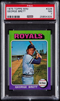 Baseball Cards:Singles (1970-Now), 1975 Topps Mini George Brett #228 PSA NM 7....