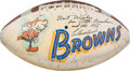 Football Collectibles:Balls, 1955 Cleveland Browns Team Signed NFL Championship Presentational Football. ...