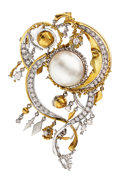 Estate Jewelry:Brooches - Pins, Diamond, Mabe Pearl, Gold Brooch. ...