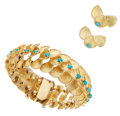 Estate Jewelry:Suites, Turquoise, Gold Jewelry Suite. ... (Total: 3 Items)