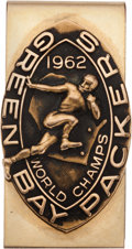 """Football Collectibles:Others, 1962 Green Bay Packers """"World Champs"""" Gold Money Clip Presented - Gifted by Vince Lombardi! ..."""