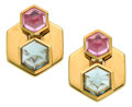 Estate Jewelry:Earrings, Pink Sapphire, Green Quartz, Gold Earrings, Marina B. ... (Total: 2Items)