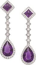 Estate Jewelry:Earrings, Amethyst, Diamond, White Gold Earrings. ... (Total: 2 Items)