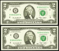 Error Notes:Ink Smears, Fr. 1939-B $2 2009 Federal Reserve Notes. Two Consecutive Examples.Choice Crisp Uncirculated.. ... (Total: 2 notes)
