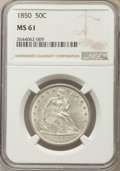 Seated Half Dollars, 1850 50C Repunched Date, WB-102, MS61 NGC....