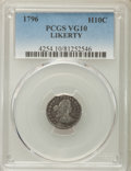 Early Half Dimes, 1796 H10C LIKERTY, V-1, LM-1, R.3, VG10 PCGS....