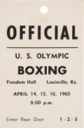 Boxing Collectibles:Memorabilia, 1960 Cassius Clay (Muhammad Ali) Olympic Qualifying Pass. ...