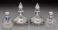 Silver Holloware, American:Flasks, Four American Silver Overlay Clear Glass Vanity Bottles, early 20thcentury. 5-3/4 inches high (14.6 cm) (taller pair). ... (Total: 4Items)