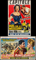 """Movie Posters:Drama, Duel on the Mississippi & Other Lot (Columbia, 1955). Belgians (2) (14"""" X 21.25""""). Drama.. ... (Total: 2 Items)"""