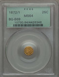 California Fractional Gold , 1872/1 25C Indian Round 25 Cents, BG-869, Low R.4, MS64 PCGS. PCGSPopulation: (44/15). NGC Census: (4/7). ...