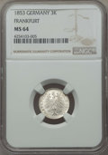 German States:Frankfurt am Main, German States: Frankfurt. Free City 3 Kreuzer 1853 MS64 NGC,...