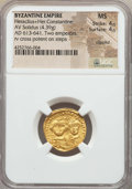Ancients:Byzantine, Ancients: Heraclius & Heraclius Constantine (AD 613-641). AVsolidus (4.39 gm). NGC MS 4/5 - 4/5, clipped....