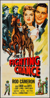 "The Fighting Chance & Other Lot (Republic, 1955). Three Sheet (41"" X 79""), One Sheet & Stock One Sheet..."