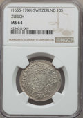 Switzerland:Zurich, Switzerland: Zurich. City 10 Shillings ND (1655-1700) MS64 NGC,...