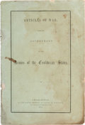 Books:Pamphlets & Tracts, [Confederate Imprint]. Articles of War for the Government of theArmies of the Confederate States....