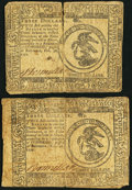 Colonial Notes:Continental Congress Issues, Continental Currency February 26, 1777 $3 Two Examples.. ...(Total: 2 notes)