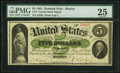 Large Size:Demand Notes, Fr. 3 $5 1861 Demand Note PMG Very Fine 25.. ...