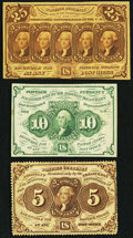 Fractional Currency:First Issue, First Issue Fractionals Very Fine or Better.. ... (Total: 3 notes)