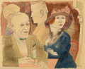 Fine Art - Work on Paper:Watercolor, George Grosz (1893-1959). Im Café (Seminude Woman with ChampagneGlass on verso), 1922. Watercolor and pen and ink on pa...