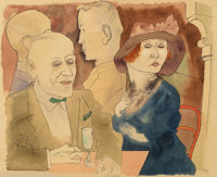 George Grosz (1893-1959) Im Café (Seminude Woman with Champagne Glass on verso), 1922 Watercolor and