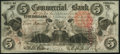 Obsoletes By State:Indiana, Terre Haute, IN- Commercial Exchange Bank $5 Aug. 3, 1858...