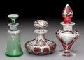 Silver Holloware, American:Vanity, Three American Colored Glass Perfumes with Silver Overlay, early20th century. Marks to shortest: 999/1000 FINE, (Alvin ...(Total: 3 Items)