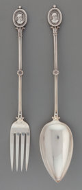 Silver Flatware, American:Ball Black , A Ball, Black & Co. Medallion Pattern Silver SaladServing Set, New York, New York, designed 1862. Marks:BALL...