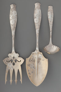 Three Whiting Mfg. Co. Japanesque Partial Gilt Silver Flatware Serving Pieces, New York, New York, circa 1890 Mark