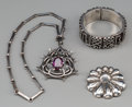 Silver Smalls:Other , Three Pieces of Mexican Silver and Hardstone Jewelry, mid-20thcentury. Marks: (various marks). 13 inches long (33.0 cm) (ne...(Total: 3 Items)