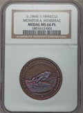 Civil War Tokens, (circa-1864) Monitor & Merrimac MS66 Prooflike NGC. S-MM4. Copper....