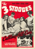 "Movie Posters:Comedy, The Three Stooges in Calling All Curs (Columbia, 1939). One Sheet(27"" X 41"").. ..."