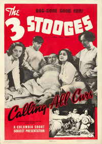 """The Three Stooges in Calling All Curs (Columbia, 1939). One Sheet (27"""" X 41"""")"""