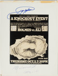 Boxing Collectibles:Autographs, 1981 Muhammad Ali vs. Larry Holmes Poster Proof Signed by Both....