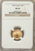 Modern Bullion Coins: , 1993 $5 Tenth-Ounce Gold Eagle MS69 NGC. NGC Census: (1713/213). PCGS Population: (1109/22). CDN: $119 Whsle. Bid for probl...