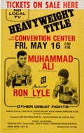 Autographs:Bats, 1975 Muhammad Ali vs. Ron Lyle On-Site Fight Poster - Signed byAli....