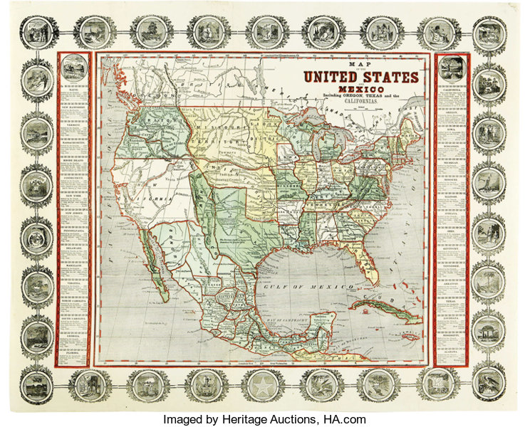 Map Of Texas Mexico.John Haven Map Of The United States And Mexico Including Oregon