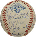 Autographs:Baseballs, 1997 Florida Marlins World Champion Team Signed Baseball. The 1997Florida Marlins completed an improbable run that saw them...